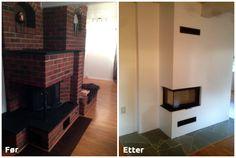 Før og etter riving av gammel #teglsteinpeis. glatting av mur, #skifer på gulvet og montering av ny #peis.