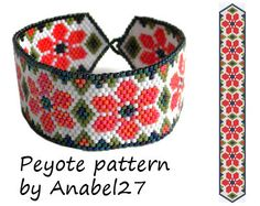 Flower peyote pattern- summer bracelet pattern  - bead pattern #11 von Anabel27shop auf Etsy https://www.etsy.com/de/listing/191098510/flower-peyote-pattern-summer-bracelet