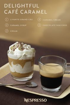 Bold Livanto Grand Cru, sweet caramel, and rich cream? There's a reason that this Café Caramel is the ultimate coffee recipe for fall. Pair the intense flavor of espresso with layers of caramel cream and whipped cream. Top this delightful dessert coffee with chocolate shavings before serving.