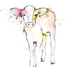 Illustration by Lotta Larsdotter: Watercolor Calf