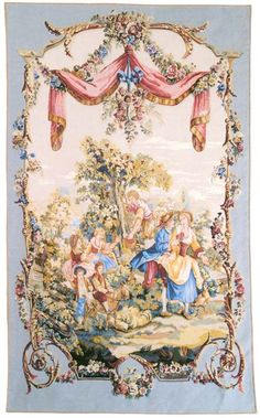 "A ""pastoral"" tapestry wall hanging (Galanterie). These wall hangings are taken from a tapestry by Jean-Baptiste Huet (1745-1811)..."