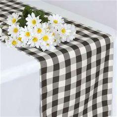 Perfect Picnic Inspired Checkered Table Runner White / Black