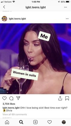 Women in suits are one of my weaknesses. Along with women who have tattoos. Gosh I'm gay as hell ~ 🐼 Bi Memes, Funny Gay Memes, Lesbian Humor, Gay Aesthetic, Bisexual Pride, Mood Pics, My Guy, At Least, Joker