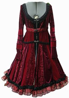 Lace Trimmed red and black Velvet Gypsy by undertheworkroom