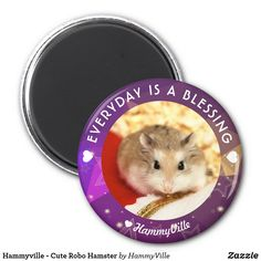 Hammyville - Cute Robo Hamster Magnet - home gifts cool custom diy cyo Robo Hamster, Cute Hamsters, Round Magnets, Cheer Up, Paper Cover, Home Gifts, Diy Funny, Fun Gifts, Shopping