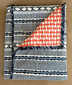 Modern Baby Quilt, gender neutral, blue tribal theme with orange chevron, trendy, ready to ship