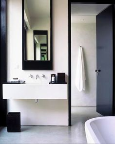 Black and White decor bathroom bathroom storage - love this! nice design modern bathroom interior collections by alinsk. Bad Inspiration, Bathroom Inspiration, Painting Inspiration, Minimalist Bathroom, Modern Bathroom, Masculine Bathroom, Simple Bathroom, Modern Minimalist, Industrial Bathroom