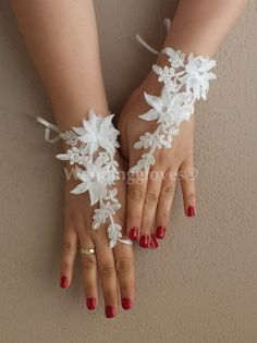 wedding gloves ivory 3D flowers lace gloves,  lace glove, Unique lace glove,   gauntlets free ship on Etsy, $35.00