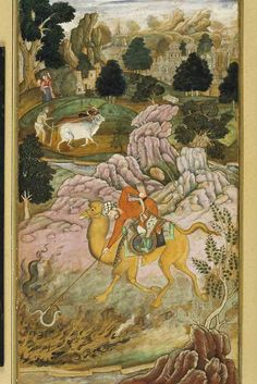 The Anwar-i-Suhaili, written by Hussain Ali Waiz, is a Persian version of the Panchatantra. [The Traveller Rescues Snake from Fire]. Ink and opaque watercolor on paper, ca 1596, Banaras Hindu University, Bharat Kala Bhavan