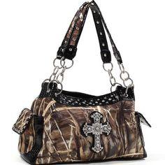 Realtree Camo Bag, Rhinestone Bling Cross MAX-4 Shoulder Bag Purse Tote  Price : $49.99 http://www.camochique.com/Realtree-Rhinestone-Bling-Cross-Shoulder/dp/B00E3OSJR0