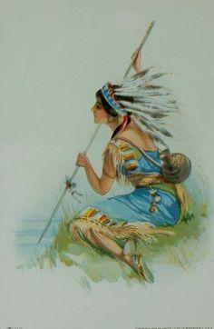 Indian Maiden Vignettes in Chromolithography, Prints by Jesse Parker Barrick kK