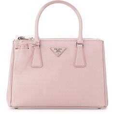 Prada Saffiano Lux Double-Zip Tote Bag featuring polyvore, fashion, bags, handbags, tote bags, purses, light pink, prada tote bag, light pink purse, leather purse, leather handbags and prada purses