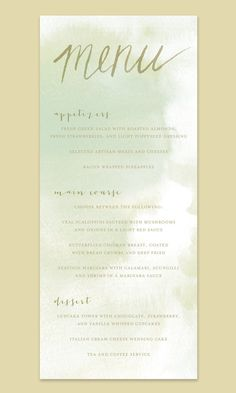 Watercolor Wedding Menu Card by Leveret Paperie