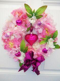 "16"" Valentine Floral Door Wreath~Glass Pink Heart Ornament~Feather Birds~Peonies"
