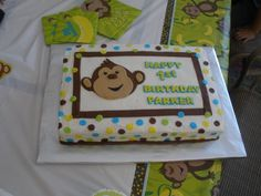 10x15 cake for my nephews first birthday. Buttercream iced with fondant monkey, dots, stripes and lettering. Inspiration from cake done by becklynn, with changes made to match the party decorations