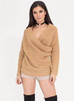 Wrap Sheet Ribbed Dolman Sweater
