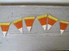Mini Candy Corn Painted Burlap Banner by funkyshique on Etsy