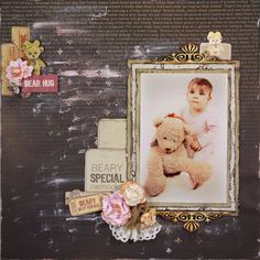 """""""Beary Special"""" Kaiser products used : Papers Teddy Suitcase Bear Love Cuddles / Crosses Template . Scrapbooking Layouts, Scrapbook Pages, Teady Bear, Linda Thompson, Cuddling, Hug, Picnic, Creative, Projects"""