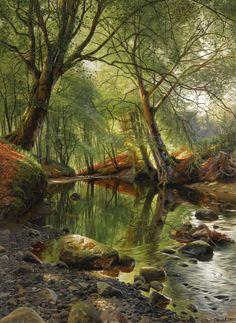 Peder Mørk Mønsted – private collection. A Woodland Stream (1895)