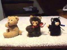 3 Vintage Clip on Hugger Bears by Dakin, Chubby & ? FREE SHIPPING !!!!