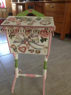 decoupaged antique sewing box