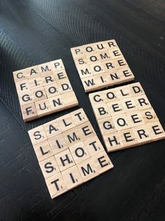 Scrabble Letter Crafts, Scrabble Coasters, Scrabble Tile Crafts, Scrabble Words, Tile Coasters, Bible Crafts For Kids, Card Ideas, Gift Ideas, Diy Presents