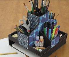 All in 1 desk organizer random stuff pinterest desks - Art desk with storage organization ...