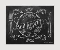 Chalkboard Art - French Country Kitchen - Kitchen Illustration - Bon Appetit Kitchen Art -11x14 Print - Hand Lettering on Etsy, $29.00
