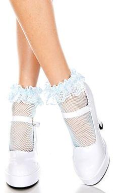 Music Legs - Fishnet Baby Blue Ankle Socks