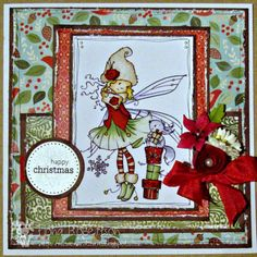 I just love these Sugar Nellie Christmas fairies and this card from Fi's cards and crafts is gorgeous. Love the papers, the colours and the distressed and doodled edges. Fabulous.