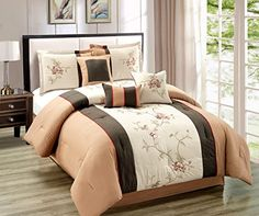 7 Pieces Chocolate Brown, Camel and Tan with Embroidery Floral Comforter Set Bed-in-a-bag - Queen Size Taupe Comforter, Bed Comforter Sets, Floral Comforter, Cotton Bedding Sets, Baby Bedding Sets, Queen Size Bedding, Comforters, Striped Bedding, Bedspreads