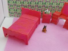 Marx Bedroom Bed Vanity Stool Night stand Traditional Dollhouse Toy Furniture Hard plastic Fuschia Pink #louismarx #miniatures #dollhouse