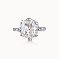 OLD MINE-CUT DIAMOND SINGLE-STONE RING