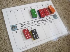 Simple domino parking lot addition game! Great math center idea!