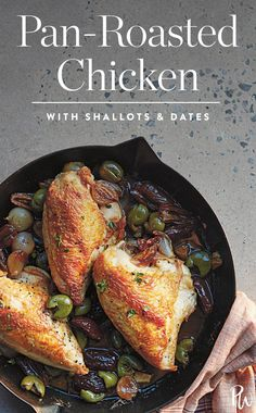 Juicychickenwith crispy skin rests on a caramelized layer of Medjool dates and green olives. Get this pan roasted chicken recipe here. #chicken #chickenrecipes #chickendinners #easydinnerrecipes