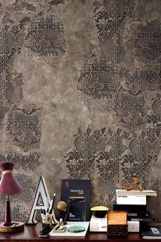 intérieur, déco : papier mural, Wall and Deco, style tampon, gris