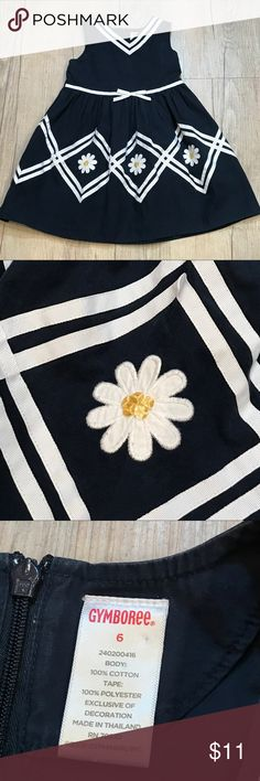 🎉H/P🎉Gymboree Daisy Dress Navy Nautical style dress with daisy applique! Gymboree, size 6. Zips up the back. Good used condition due to some fading-mostly on back zipper/pleats and a small faint spot near neckline (see photos). Perfect for spring and Easter! (3-18) Gymboree Dresses