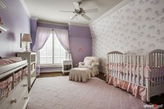 girls baby room, purple and pink