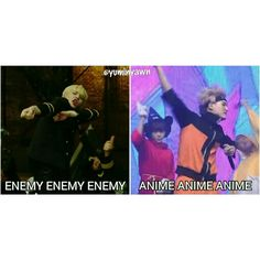 He was cosplaying as naruto because he want to say anime instead of enemy.. (๑・ิω・ิ)っ #suga #BTS