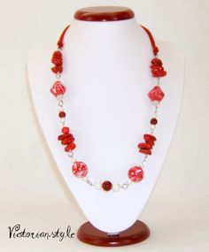 coral, pearls and polymer clay beads necklace