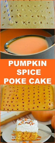 Pumpkin Spice Poke Cake  This easy recipe for homemade pumpkin cake filled with pumpkin spice syrup is the perfect fall or Thanksgiving dessert! AD