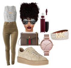 """""""Make That Asss Bouncee"""" by beautyqueen-927 ❤ liked on Polyvore featuring Miss Selfridge, MLC Eyewear, Gucci, MAC Cosmetics, Skagen and Michael Kors"""
