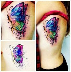Watercolor butterfly tattoo tattoo flower tendril, tattoo with hibiscus motif on the leg, tattoos for women Trendy Tattoos, Cute Tattoos, Leg Tattoos, Body Art Tattoos, Tattoos For Guys, Sleeve Tattoos, Tatoos, Tattoo Henna, Feather Tattoos