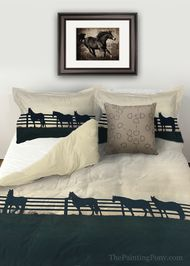 Horses at the fence Equestrian Duvet Cover available in twin, queen, or king bedding sizes for the horse lover's bedroom decor.