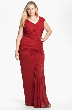 Adrianna Papell Twist Front Ruched Mesh Gown Plus Cardinal Red 14w | Dress, Frock and Clothing