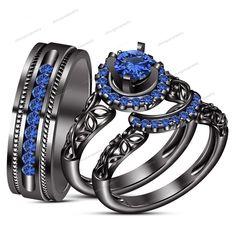 14k Black Gold 925 Silver Round Cut Blue Sapphire Bride & Groom Trio Ring Set $$ #WeddingEngagementAnniversaryBrithdayGiftGift