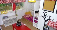 Bilderesultat for smarte løsninger barnerom Loft, Bed, Furniture, Home Decor, Play Spaces, Childhood Games, Quartos, House Decorations, Blue Prints
