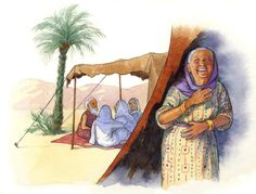 Sarah Laughing - Illustration Print. Watercolor and colored pencil. From Catholic Book Bible Stories by Laurie Lazzaro Knowlton. By Doris Ettlinger.