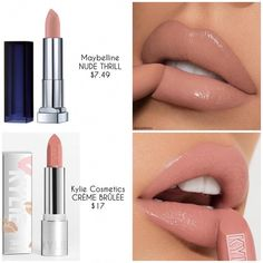 Maybelline New York Color Sensational Nude Lipstick Matte Lipstick, Nude Thrill, Ounce (Pack of Lipstick Dupes, Nude Lipstick, Lipstick Colors, Lipstick Shades, Drugstore Makeup Dupes, Makeup Lipstick, Orange Lipstick, Matte Lipsticks, Kylie Lipstick Swatches