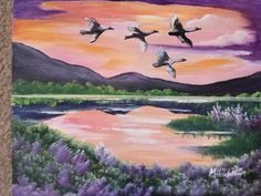 Trumpet Swans over the lake Painting by Mary Hildesheim